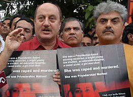 Anupam Kher at Justice for Priyadarshini rally